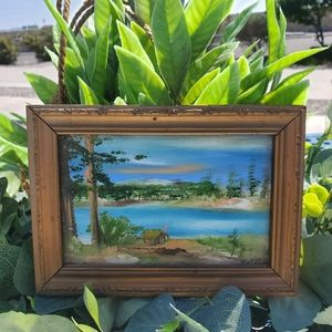 Hand Painted Miniature Lake Scene Signed